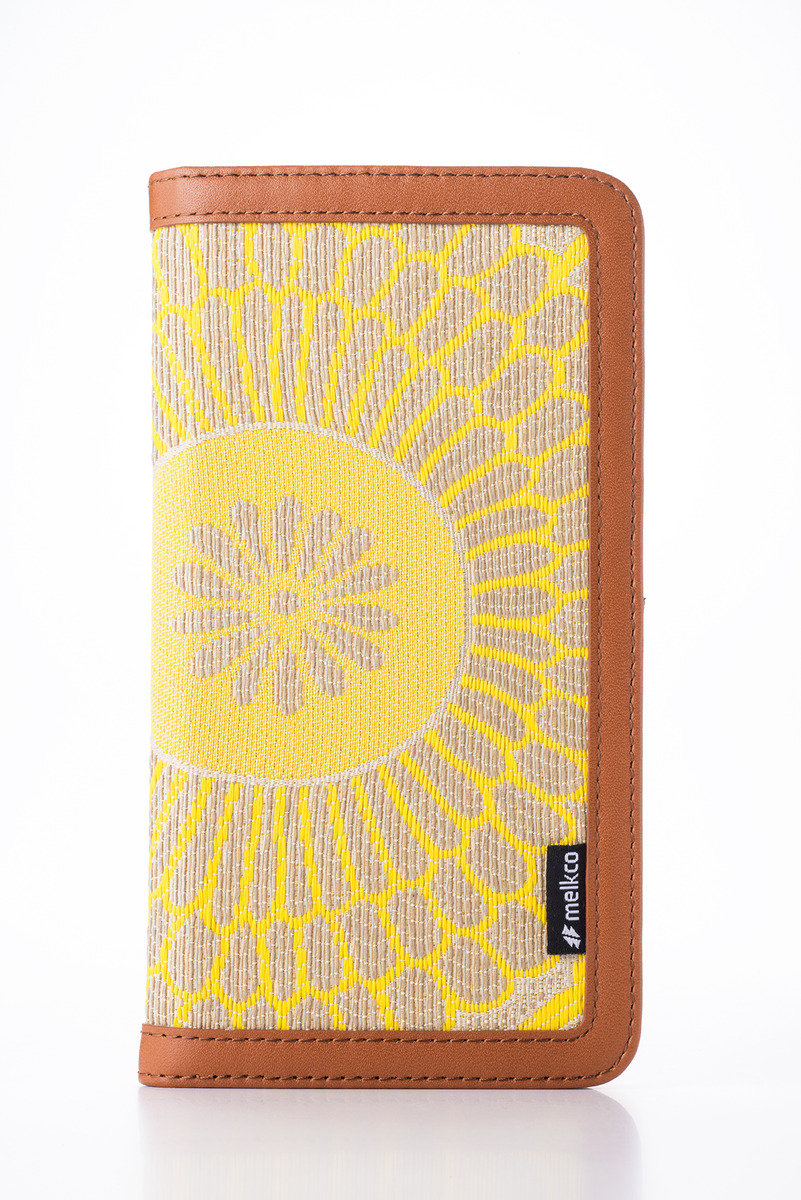 Apple iPhone 6s Plus/6 Plus Prestige Collection Heritage系列高級皮革手機皮套-啡色/黃色提花圖