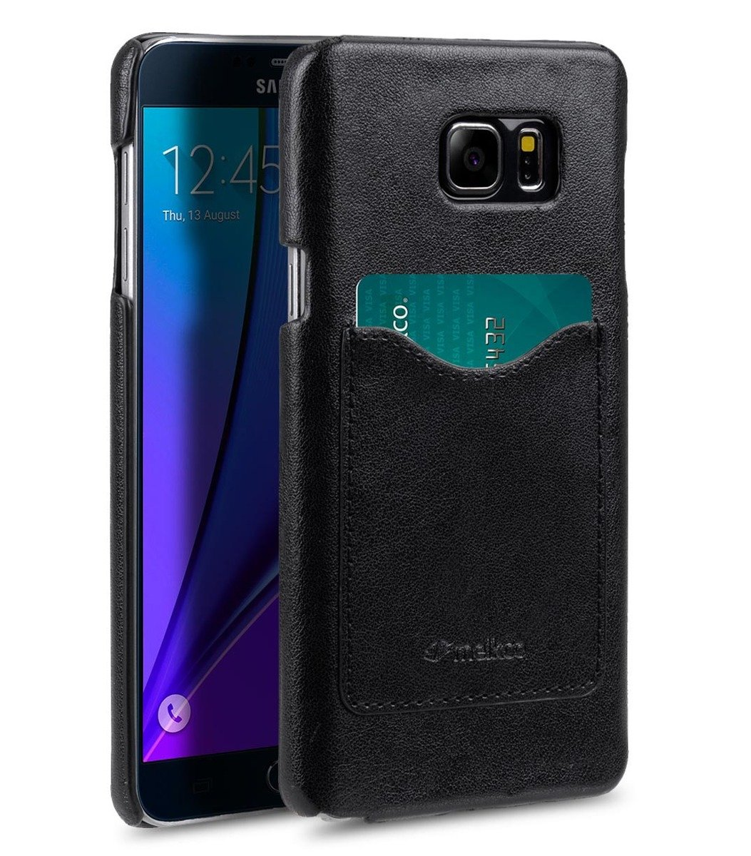 Samsung Galaxy Note 5 Card Slot Back Cover人造皮手機套 - 黑色