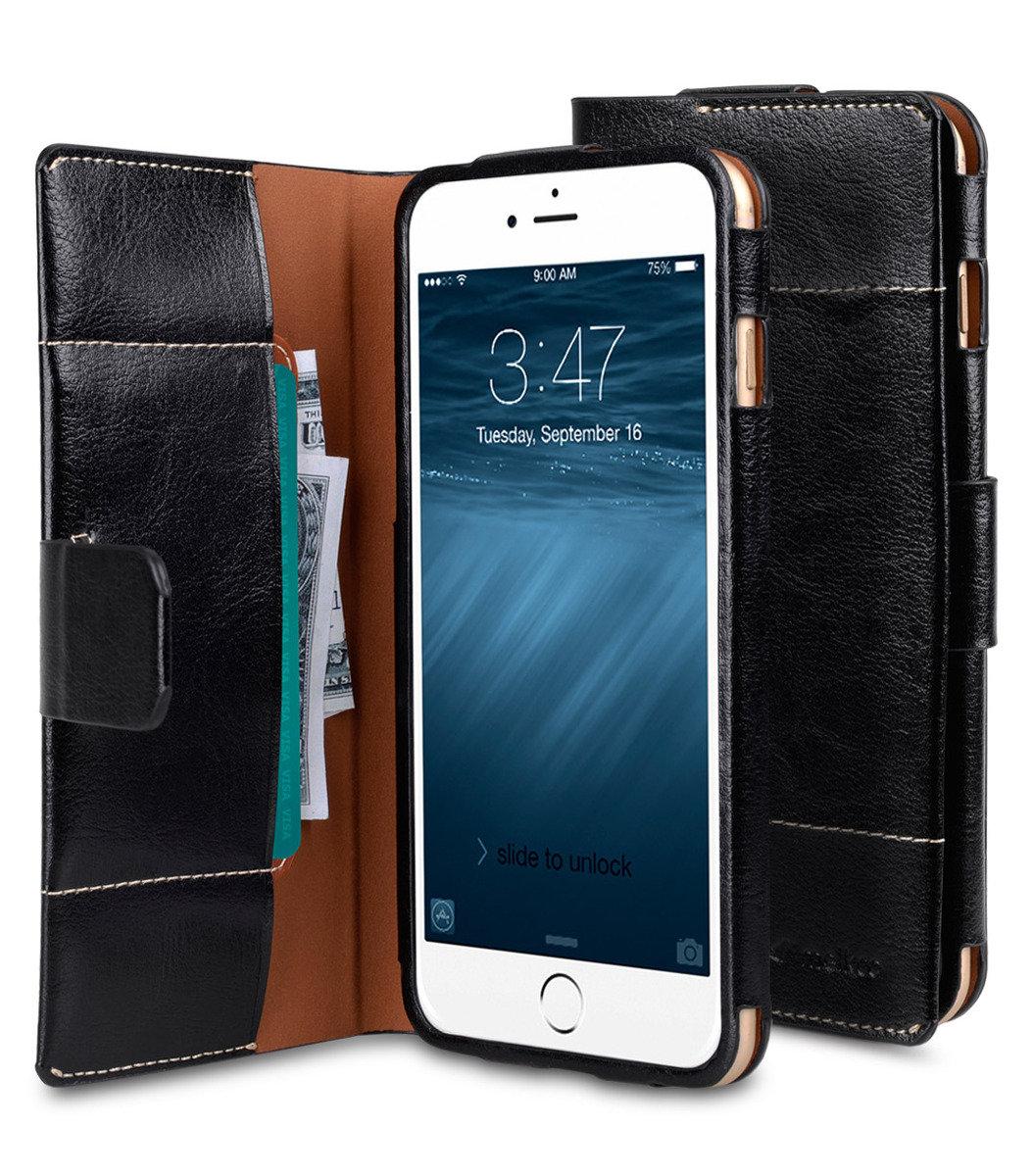 Apple iPhone 6S Plus Tera Cotto高級真皮革手機套 - 黑色