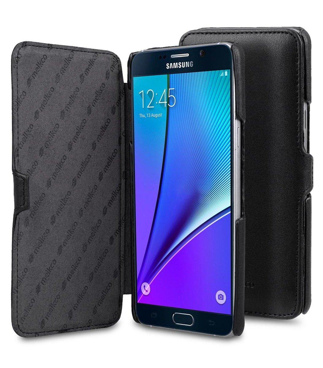Samsung Galaxy Note 5 Booka Type 高級真皮革手機套 - 黑色