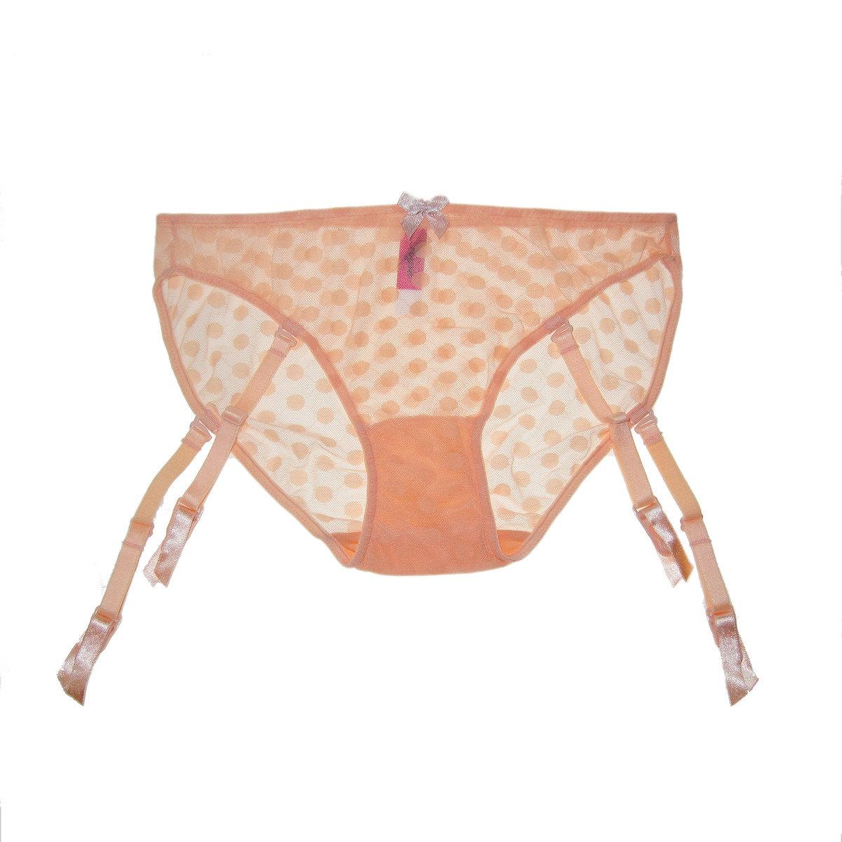 甜粉橙波點內褲