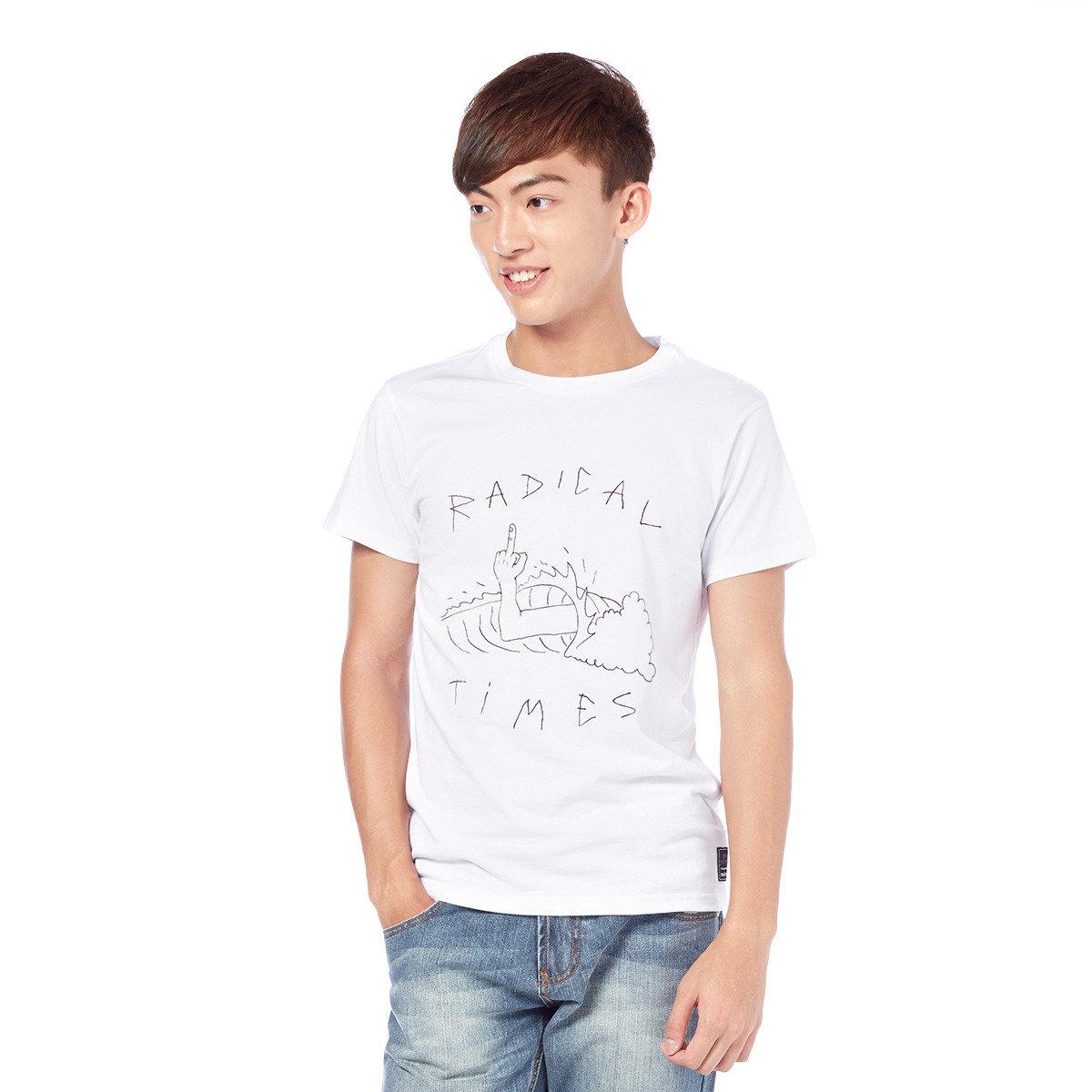 趣味衝浪線圖案短袖T恤