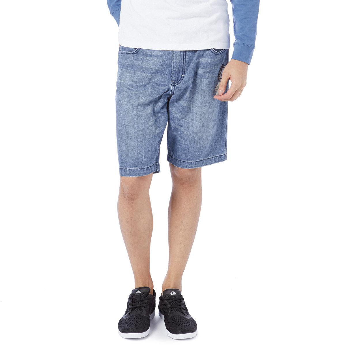 印花洗水牛仔短褲