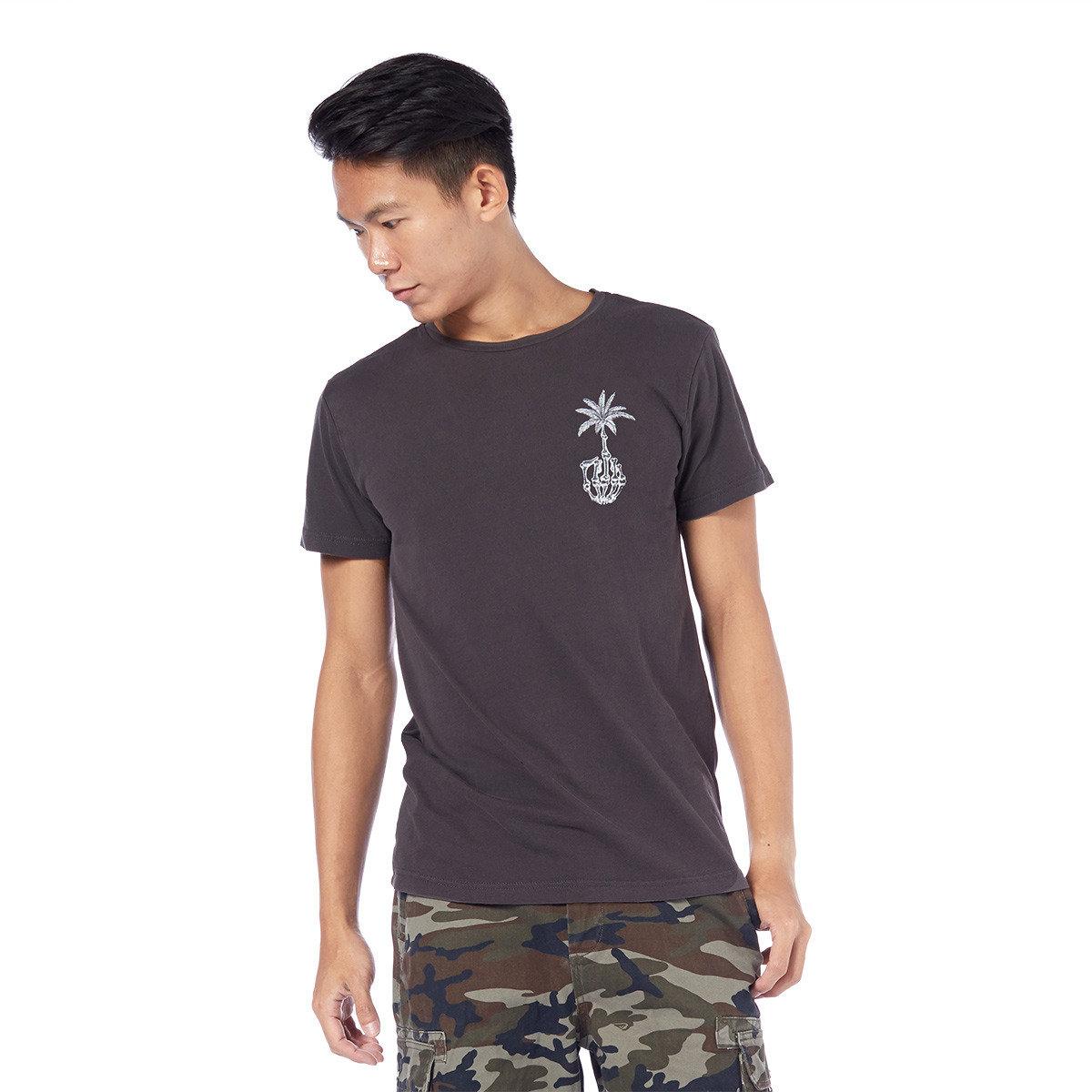 椰樹與骷髗手印花短袖T恤