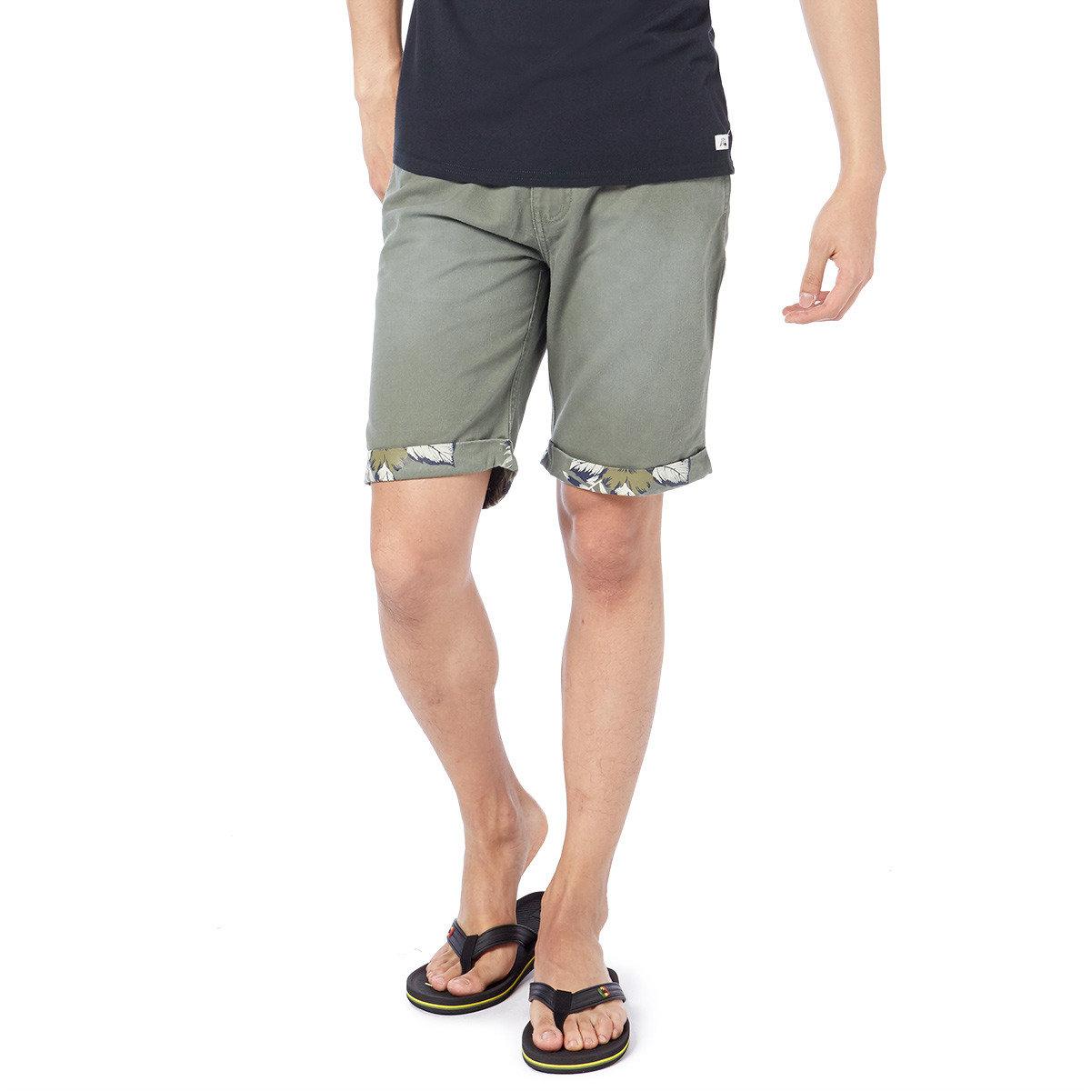 簡約淨色植物印花短褲