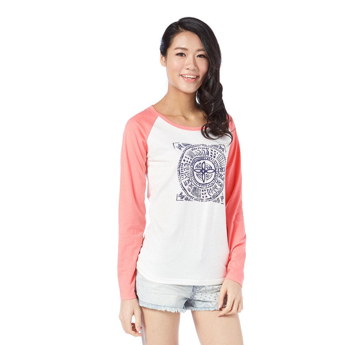 民族圖騰印花牛角袖T-Shirt