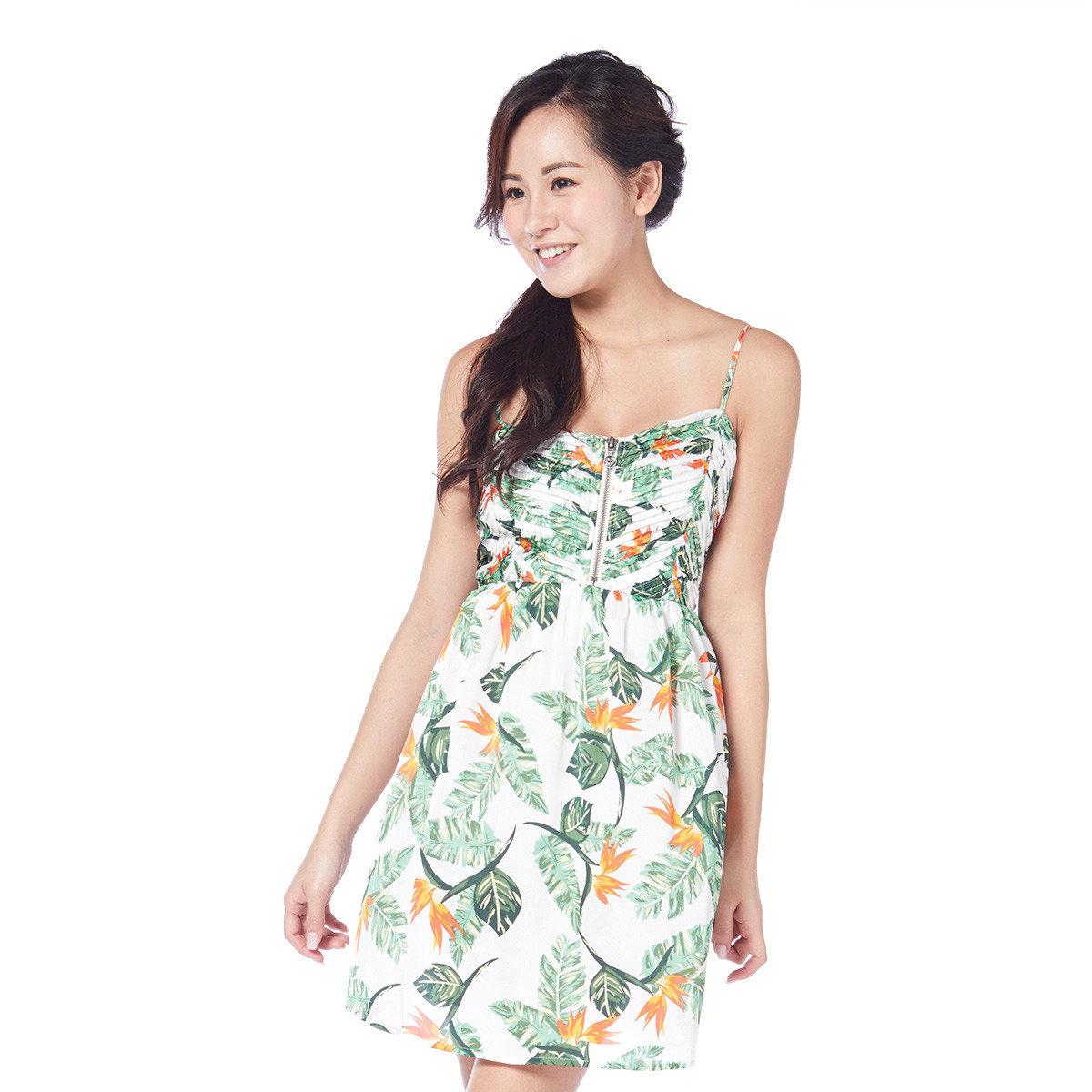 熱帶花卉圖案連身裙