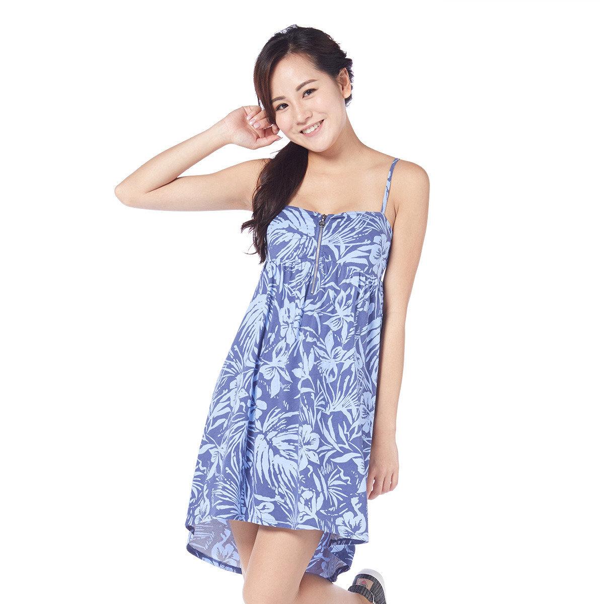 熱帶花卉印花連身裙