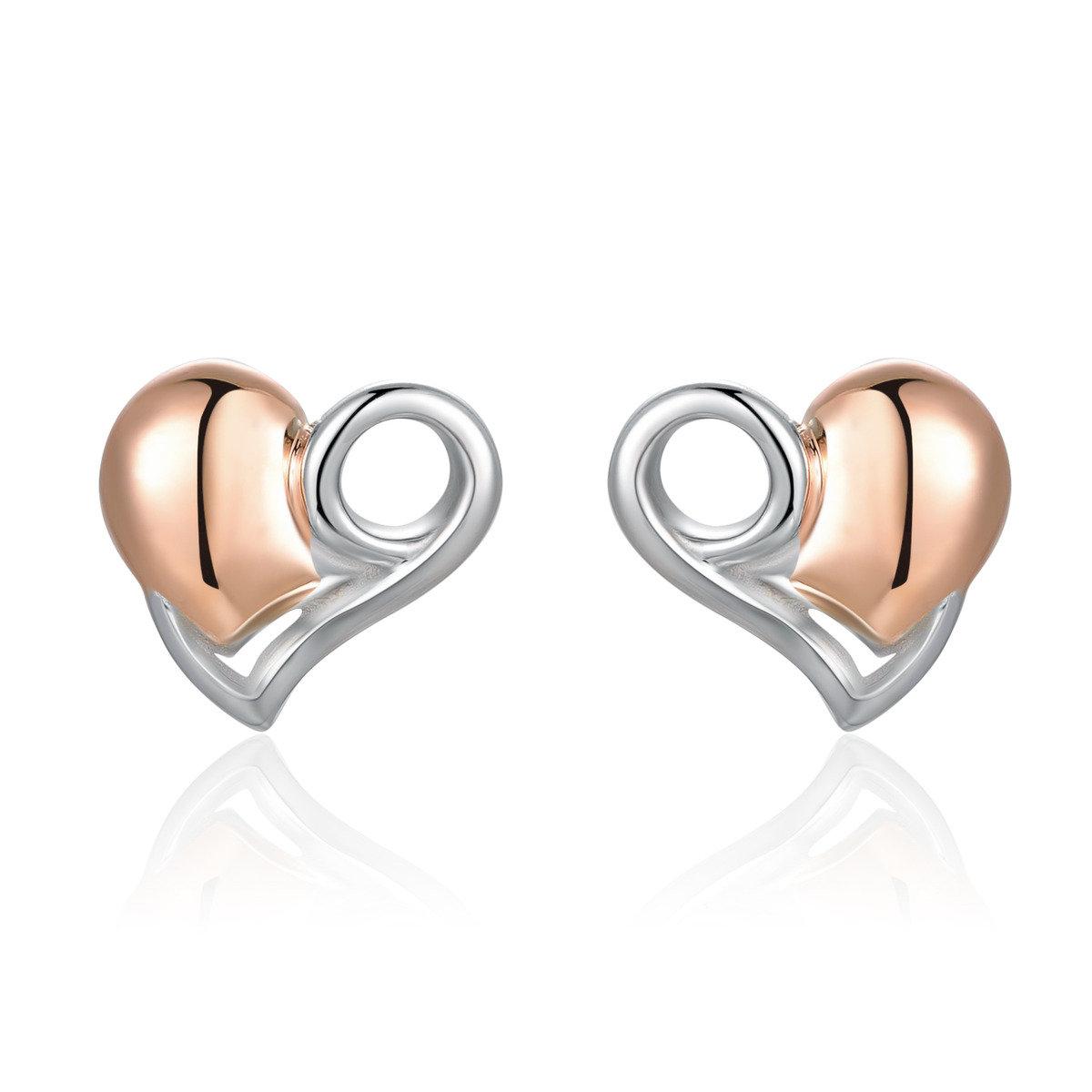 925純銀心形鍍紅色耳環 - 甜心