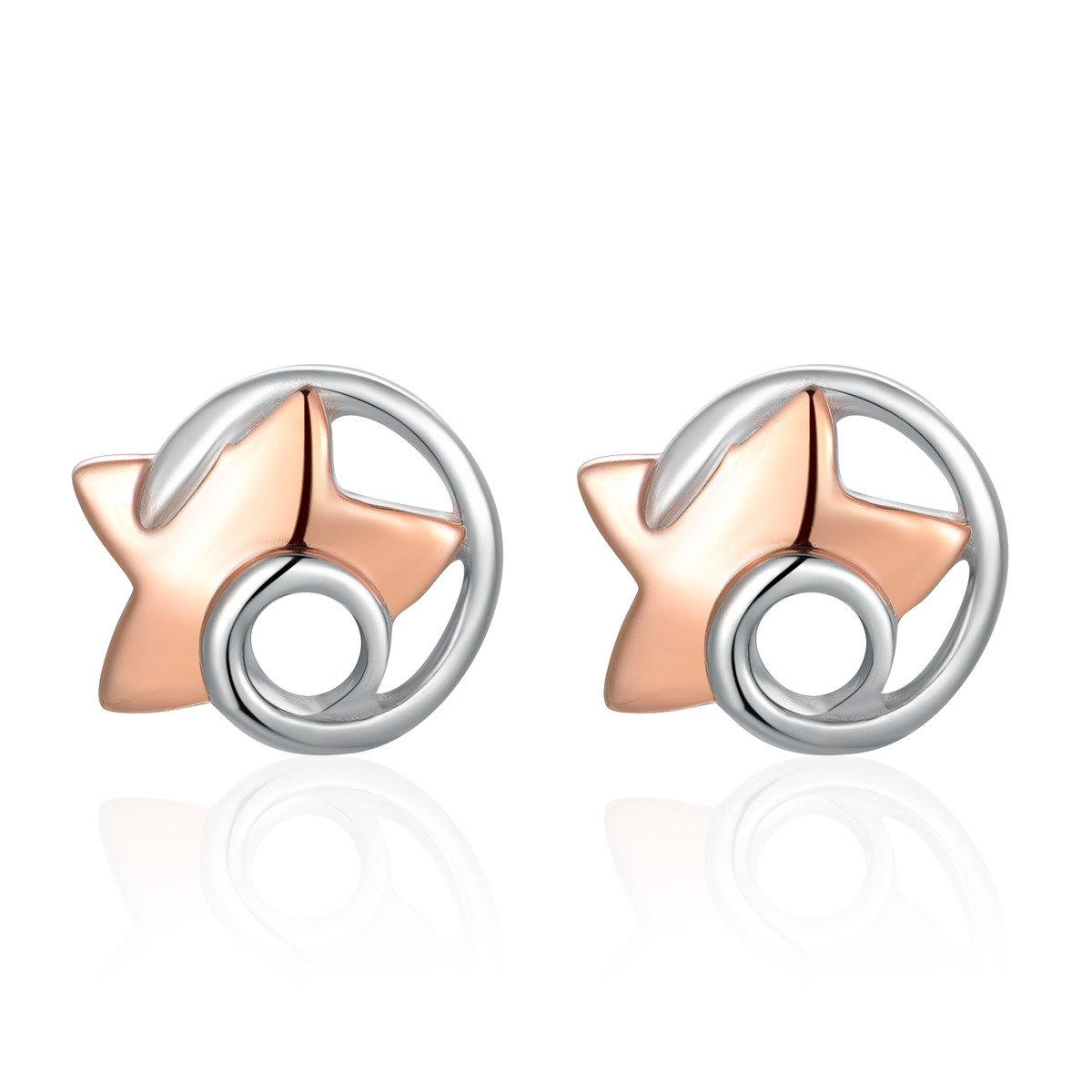 925純銀星星鍍紅色耳環 - 星空