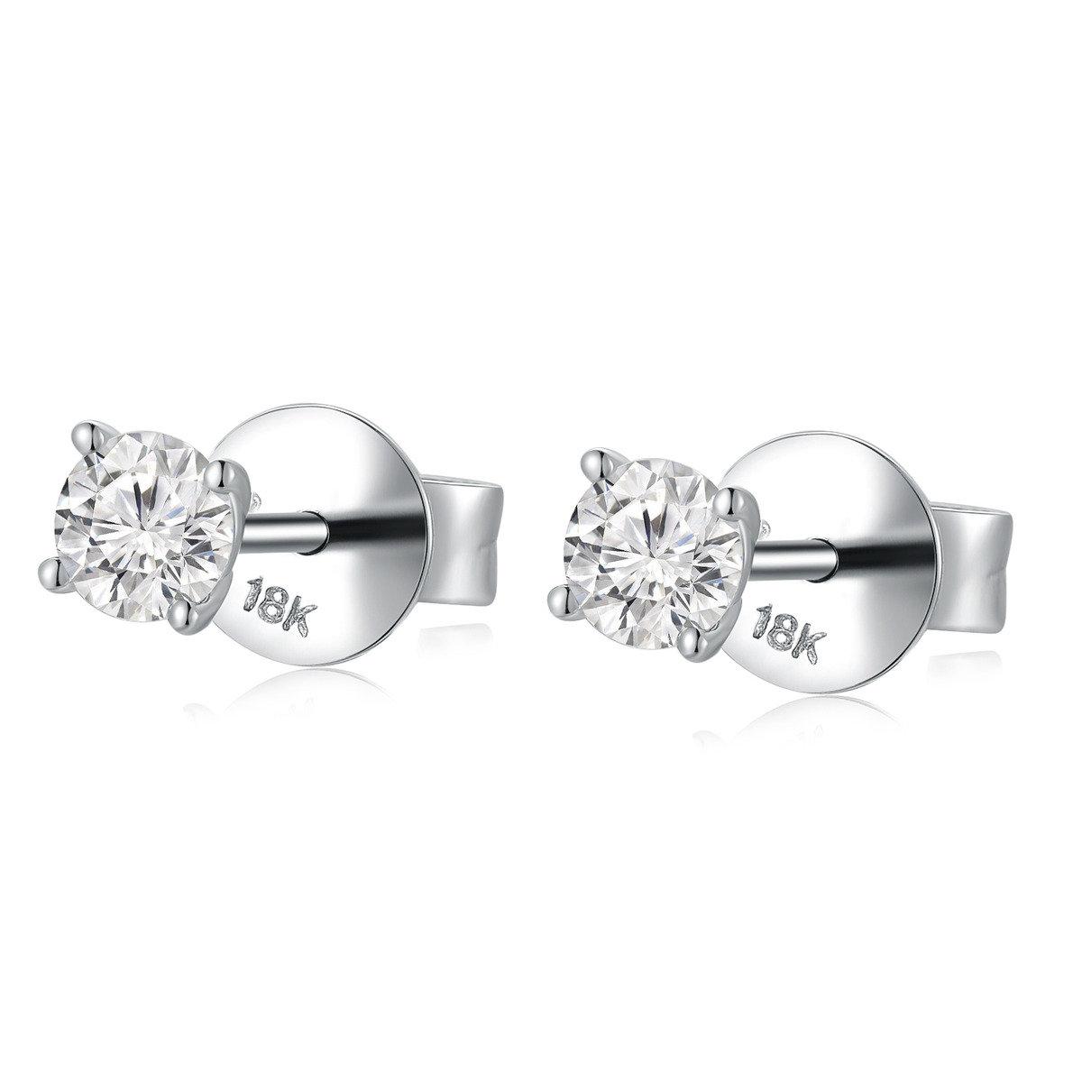 18K/750 白色黃金單顆鑽石耳環