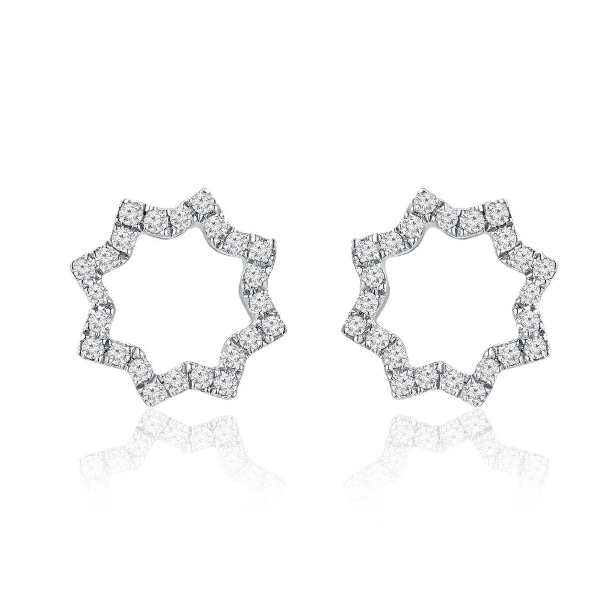 18K/750 白色黃金鑽石星星耳環