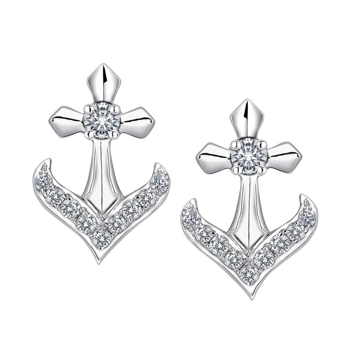 18K/750 白色黃金鑽石海風耳環