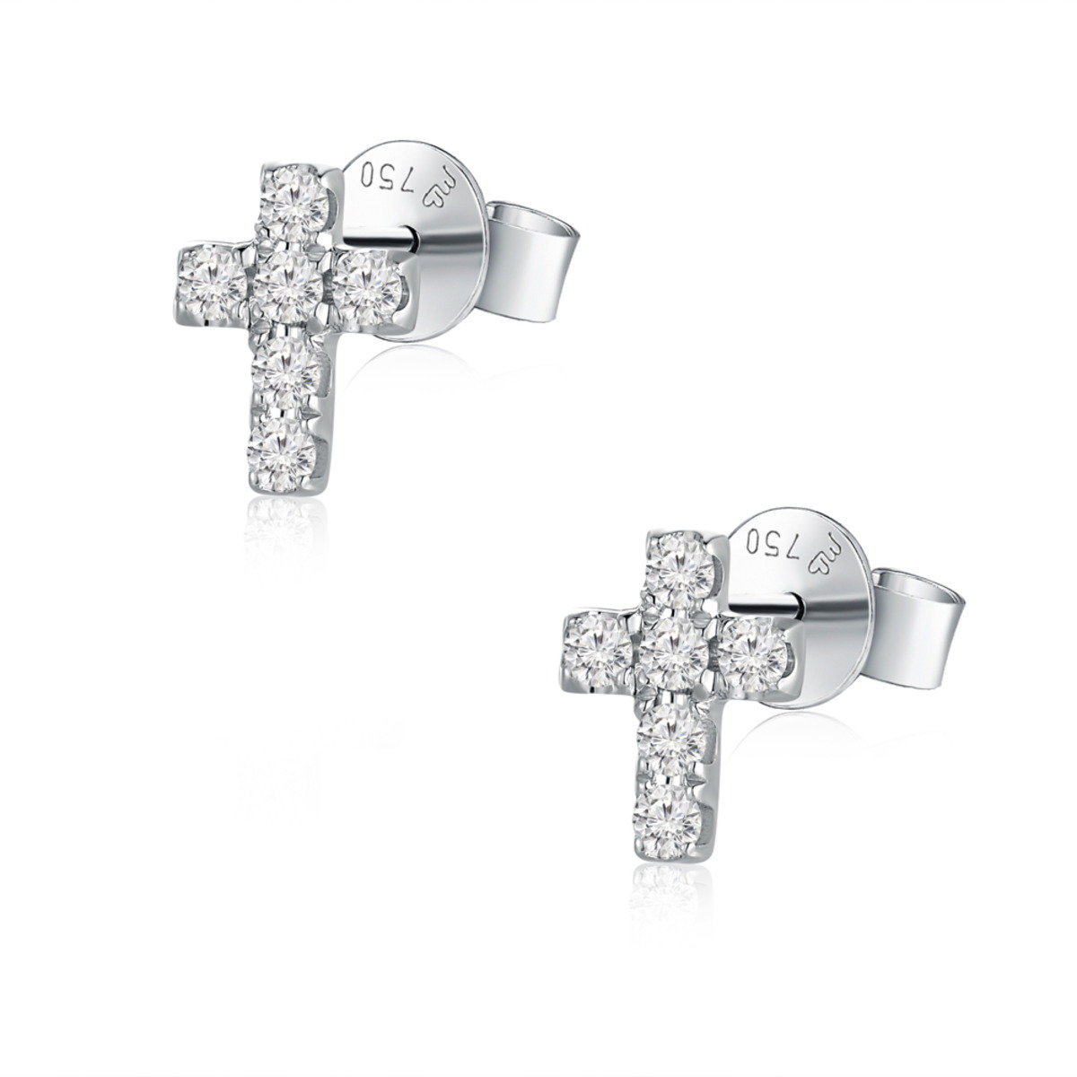 18K/750 白色黃金鑽石十字架耳環