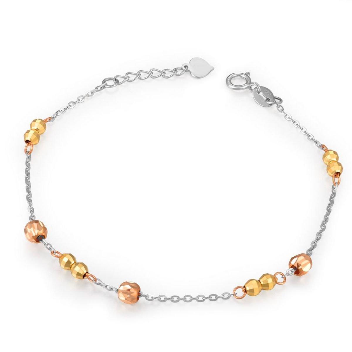 14K/585 黃白紅三色黃金圓珠手鏈