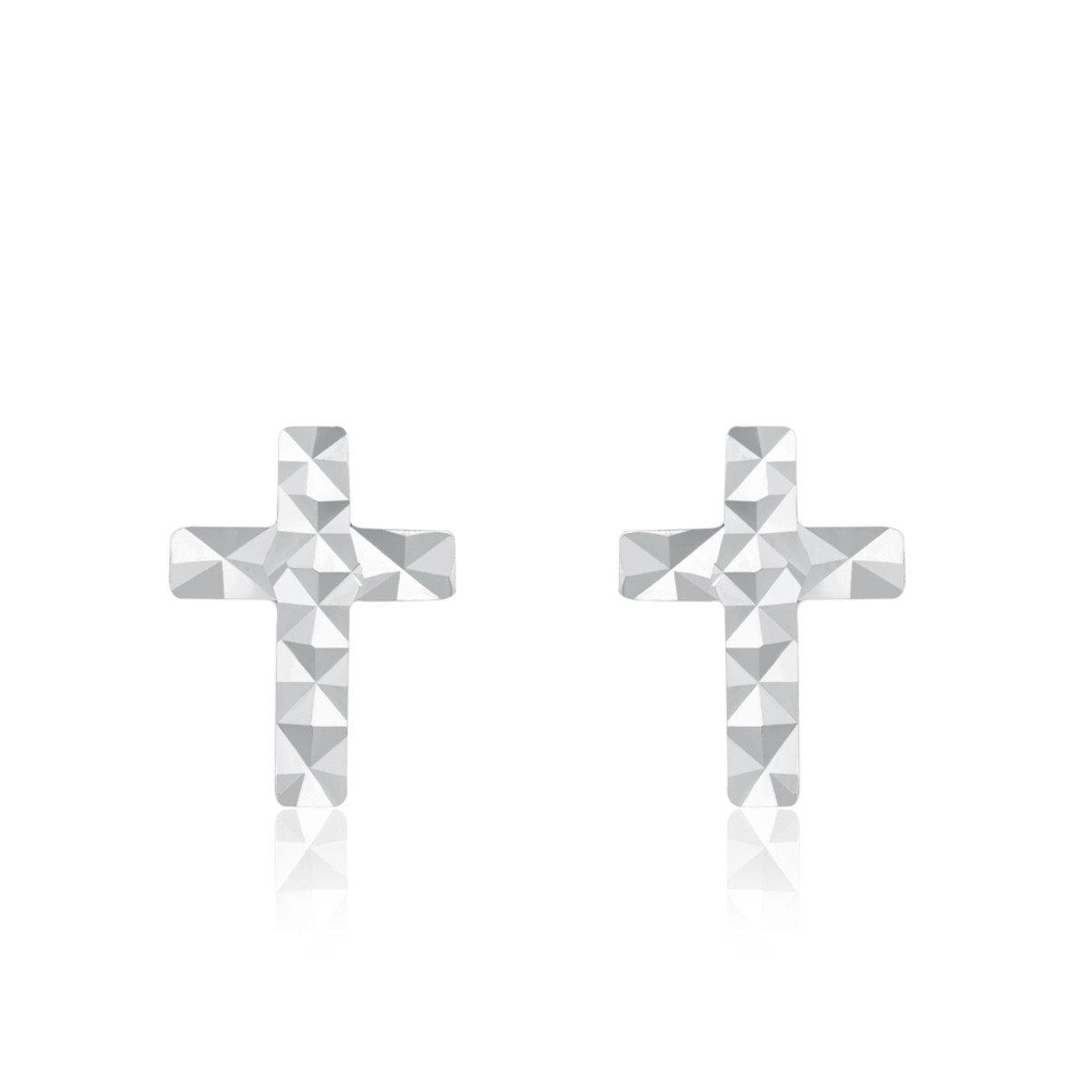 14K/585 白色黃金十字架耳環