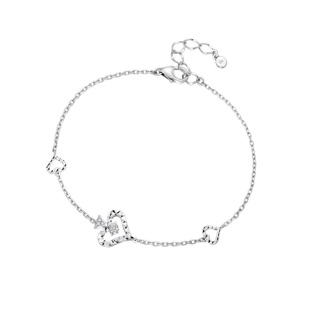 18K/750 白色黃金鑽石鑲嵌心型手鏈