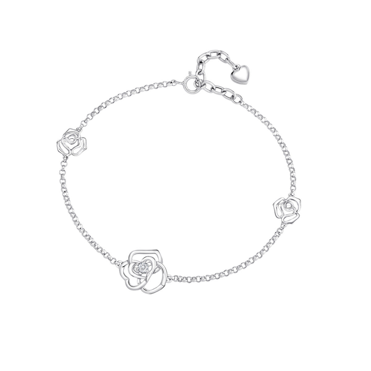 18K/750 白色黃金鑽石鑲嵌玫瑰花手鏈
