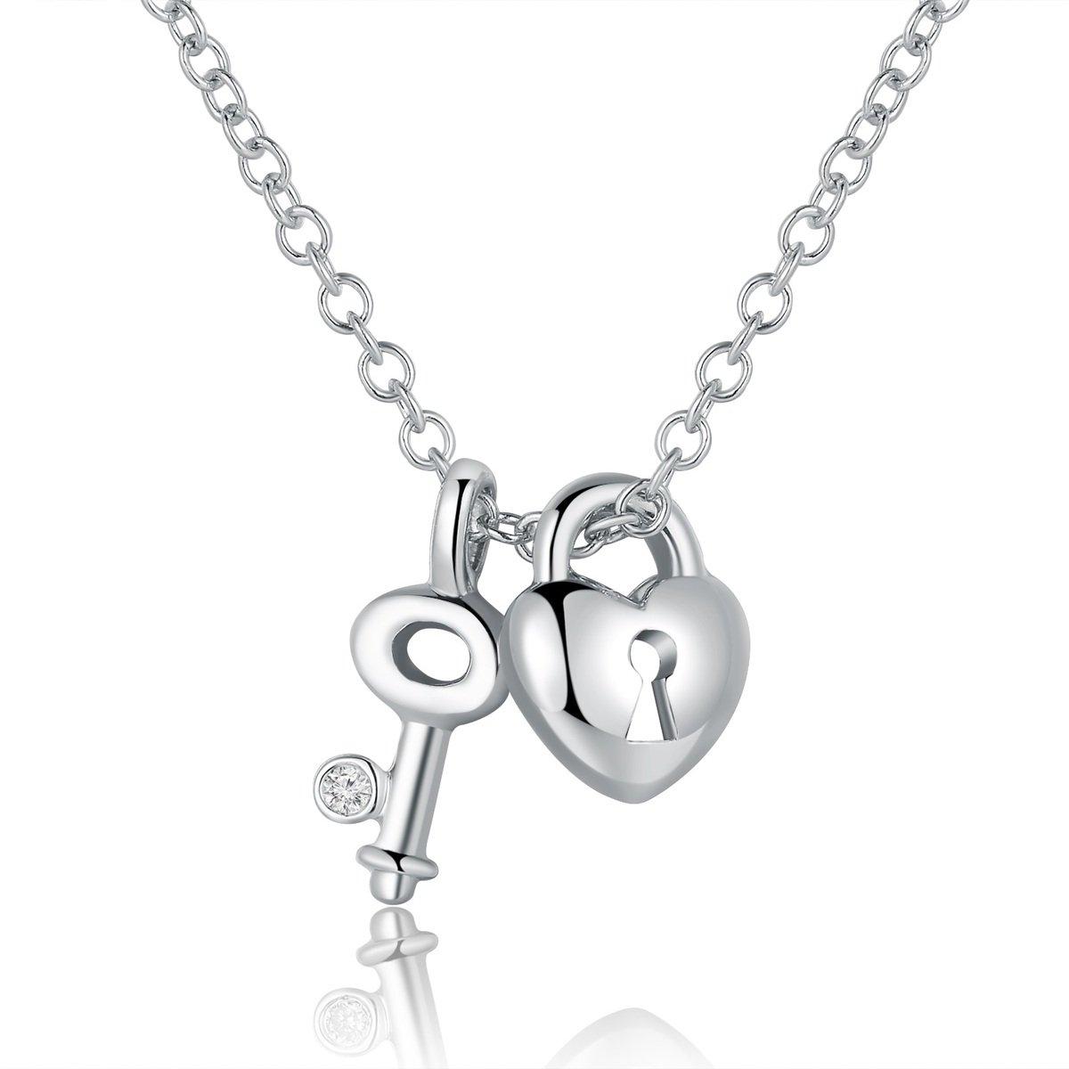 18K/750 白色黃金鑽石鑰匙心鎖項鍊 (16吋)