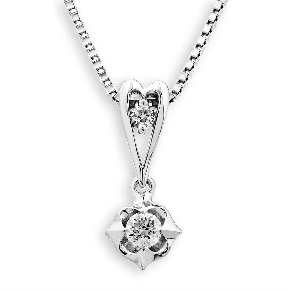 18K/750 白色黃金鑽石鑲嵌吊墜 (此吊墜不包括項鍊)