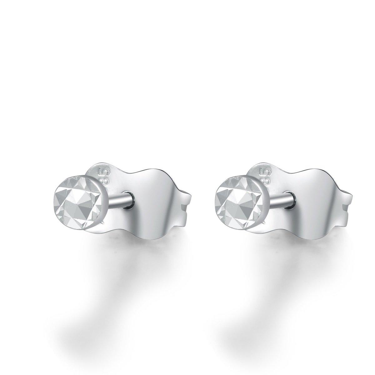14K/585 白色黃金迷你圓形耳環