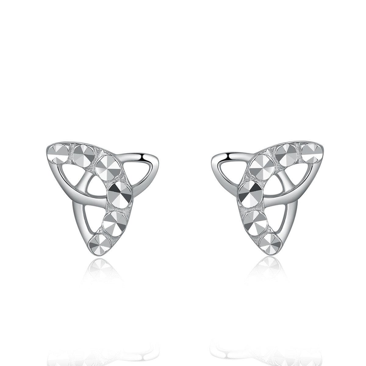 14K/585 白色黃金三角形耳環