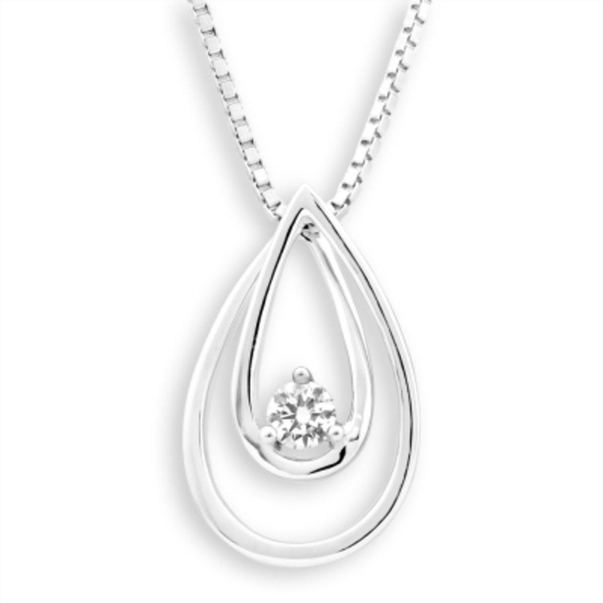 18K/750 白色黃金鑽石鑲嵌水滴吊墜 (此吊墜不包括項鍊)