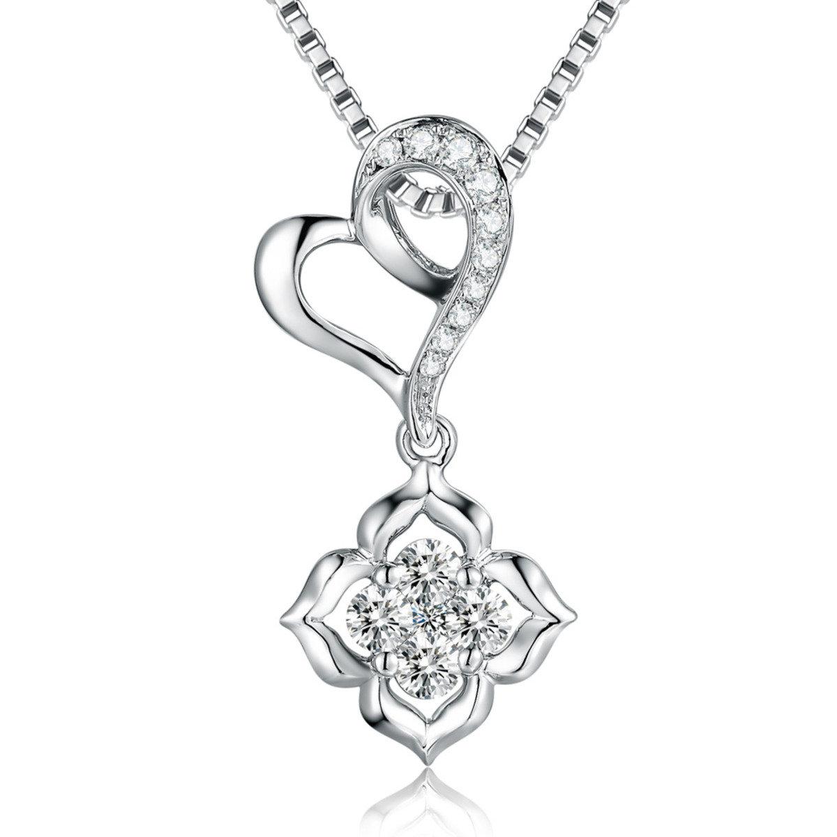 18K/750 白色黃金鑽石鑲嵌心心花兒吊墜 (此吊墜不包括項鍊)
