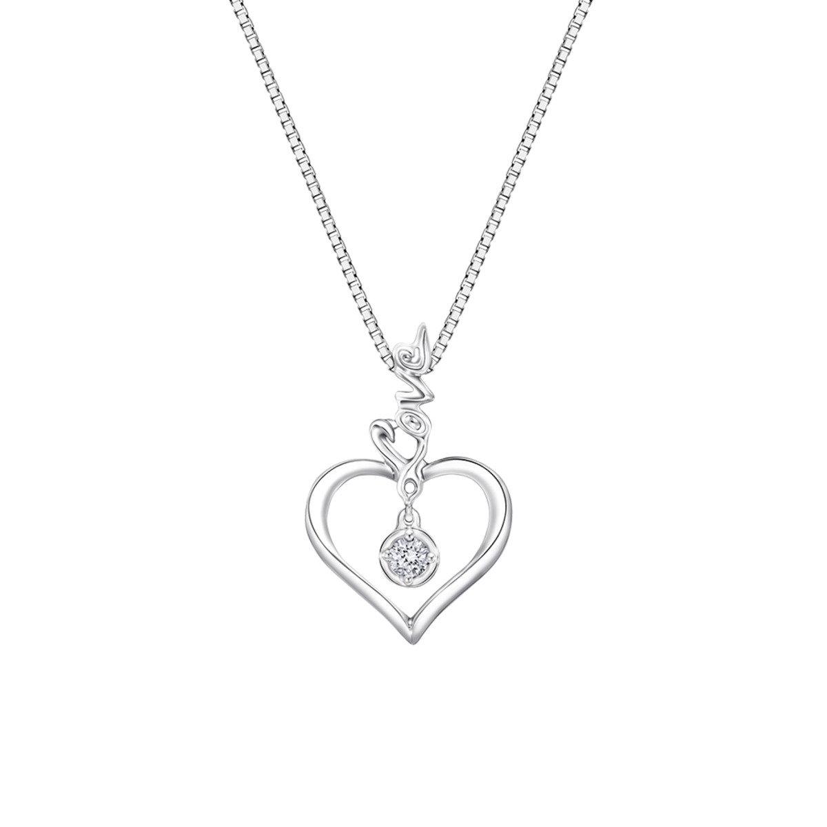 "18K/750 白色黃金鑽石鑲嵌 ""Love"" 心心吊墜 (此吊墜不包括項鍊)"