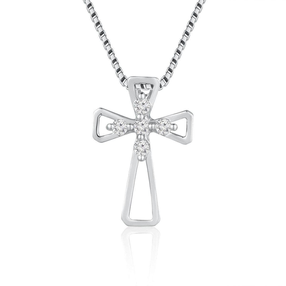 18K/750 白色黃金鑽石鑲嵌十字架吊墜 (此吊墜不包括項鍊)