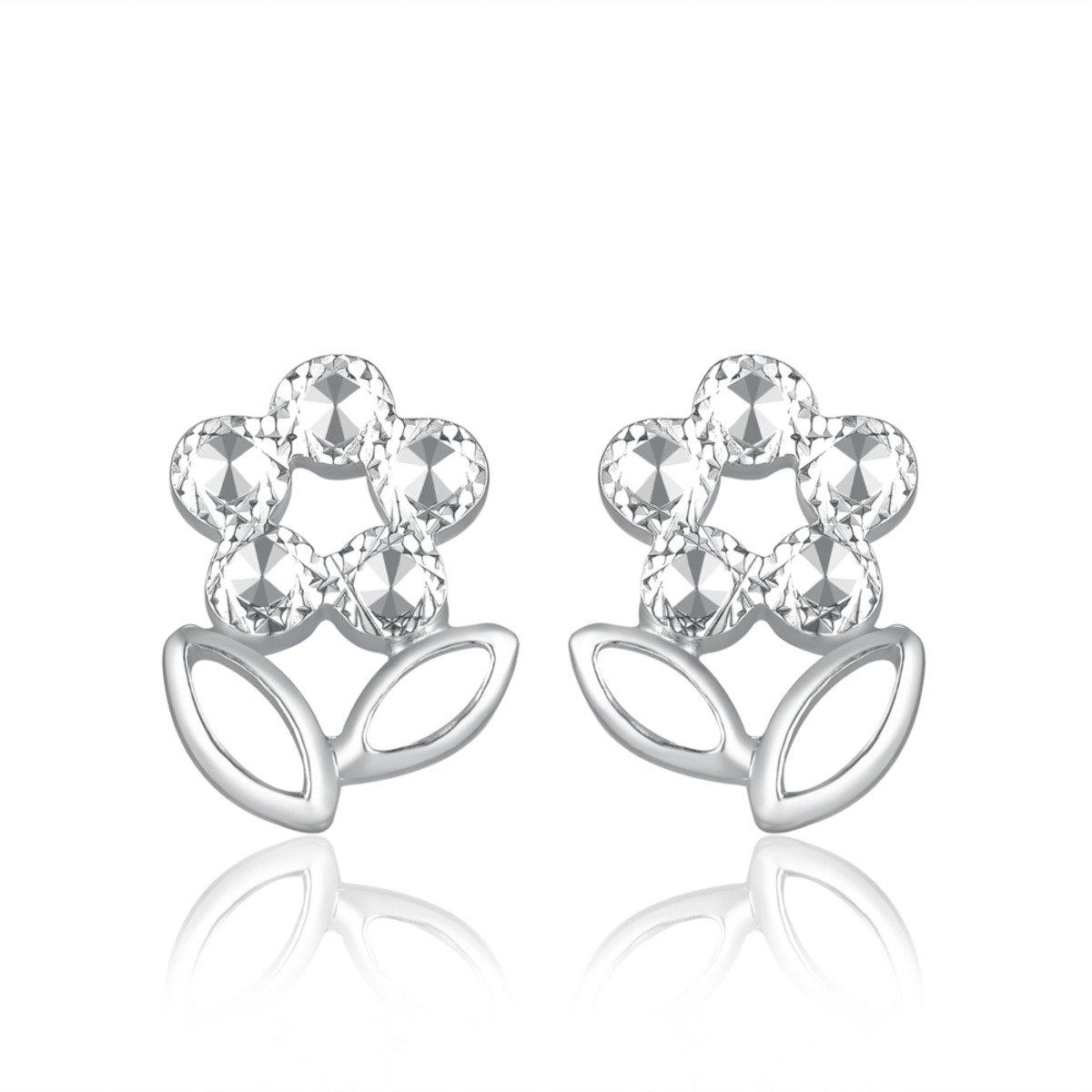 14K/585 白色黃金小花耳環