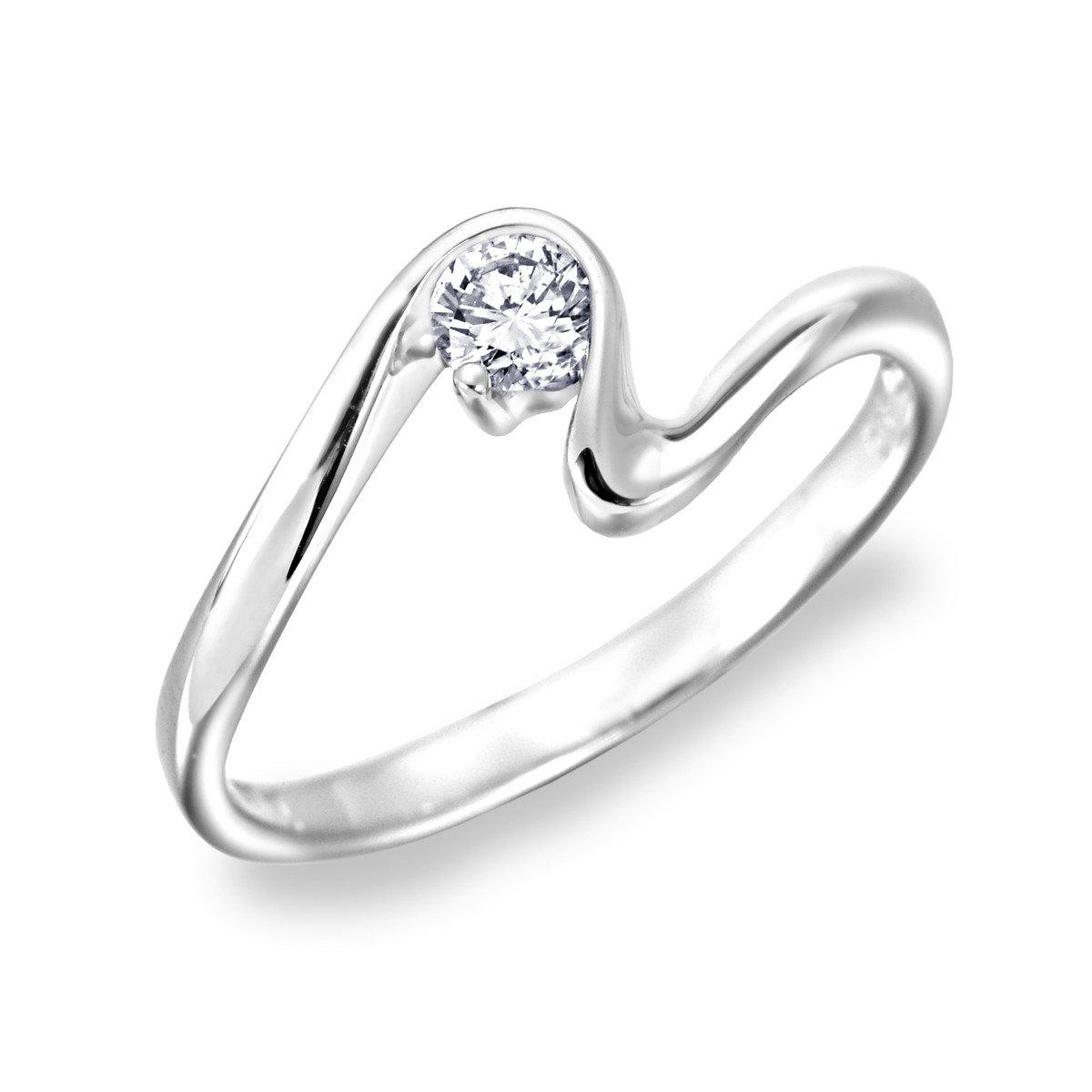 18K/750 白色黃金鑽石鑲嵌曲線戒指