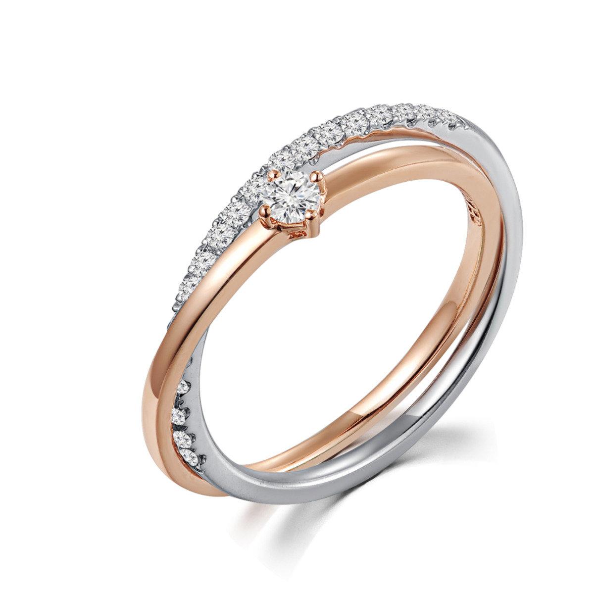 18K/750 紅白色黃金鑽石鑲嵌戒指