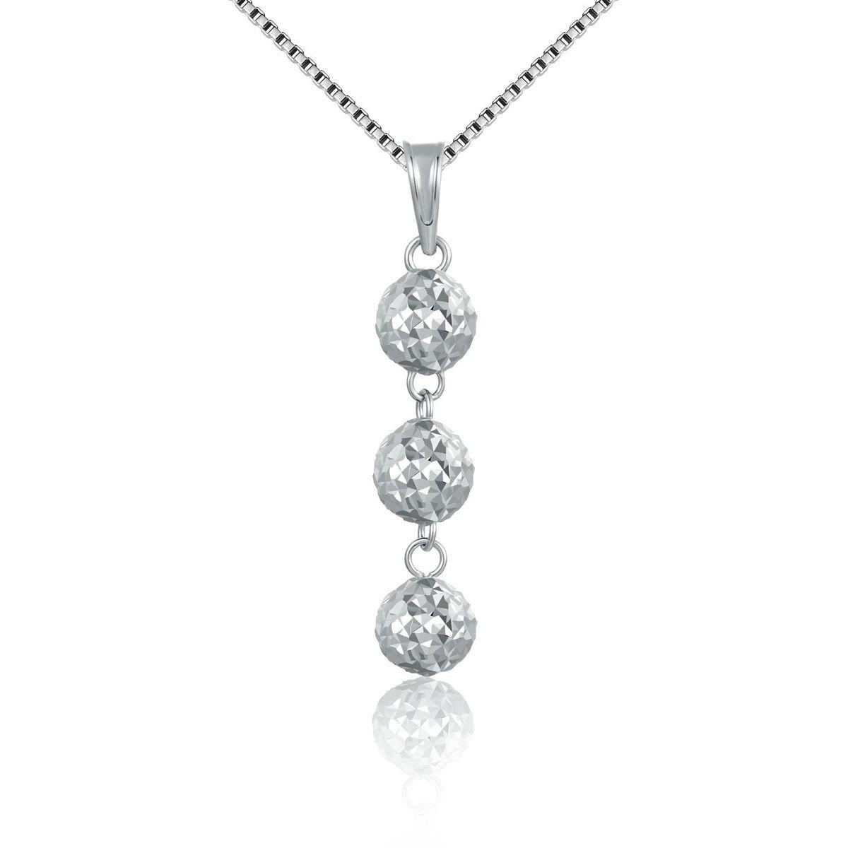 14K/585 白色黃金三顆圓珠項鍊