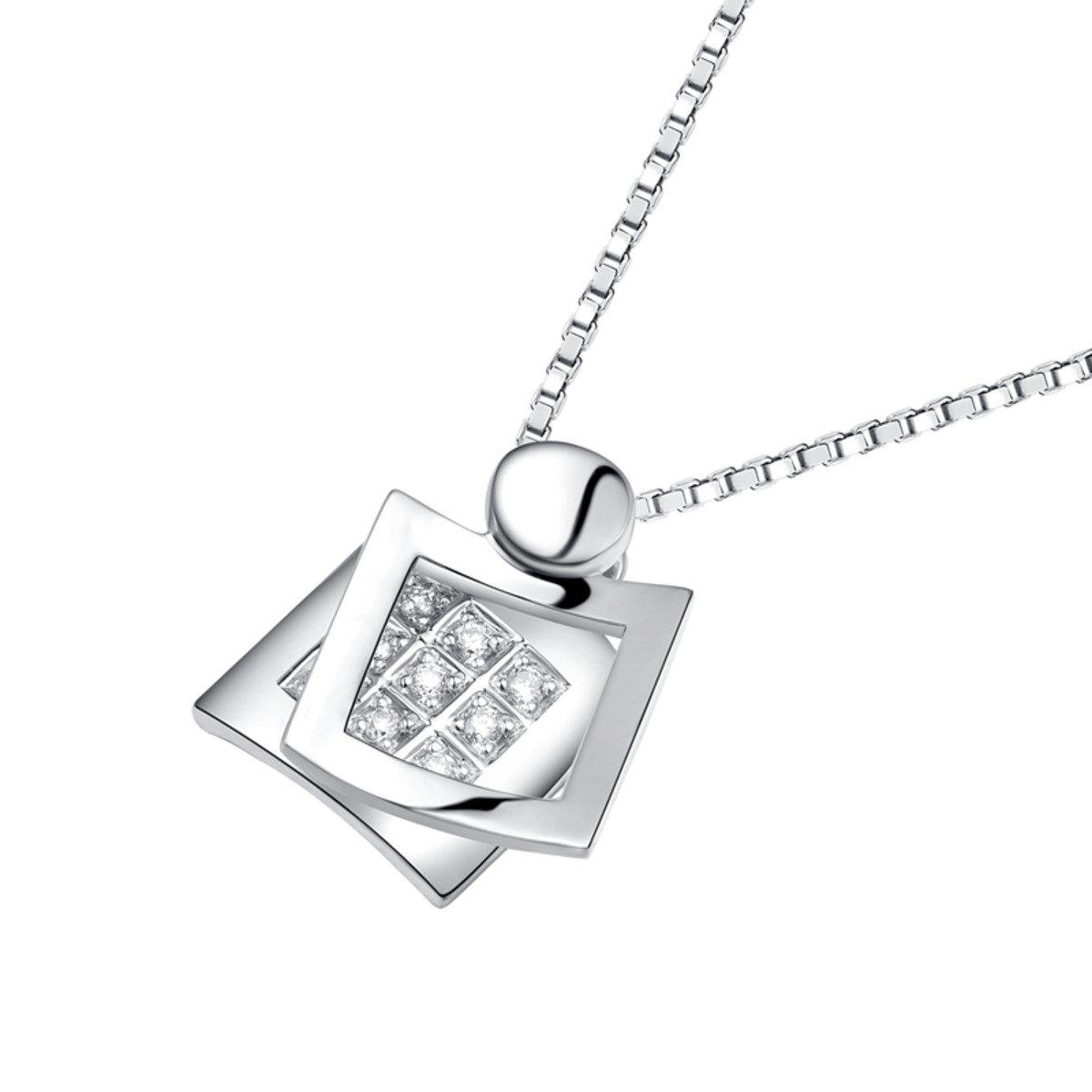 18K/750 白色黃金鑽石鑲嵌方形吊墜 (此吊墜不包括項鍊)