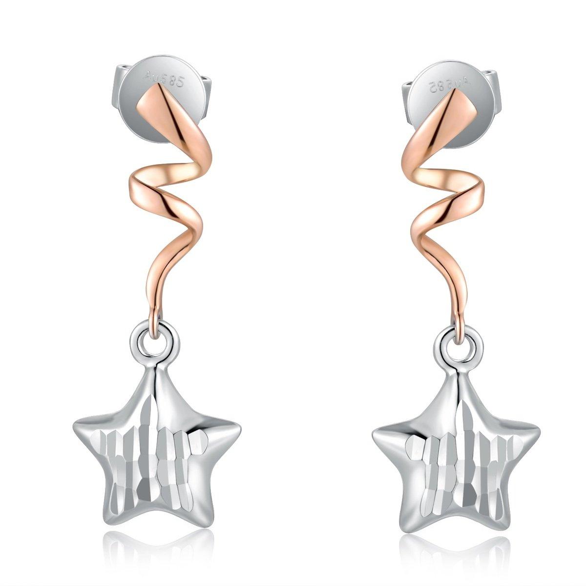 14K/585 玫瑰色白色黃金星星垂吊耳環