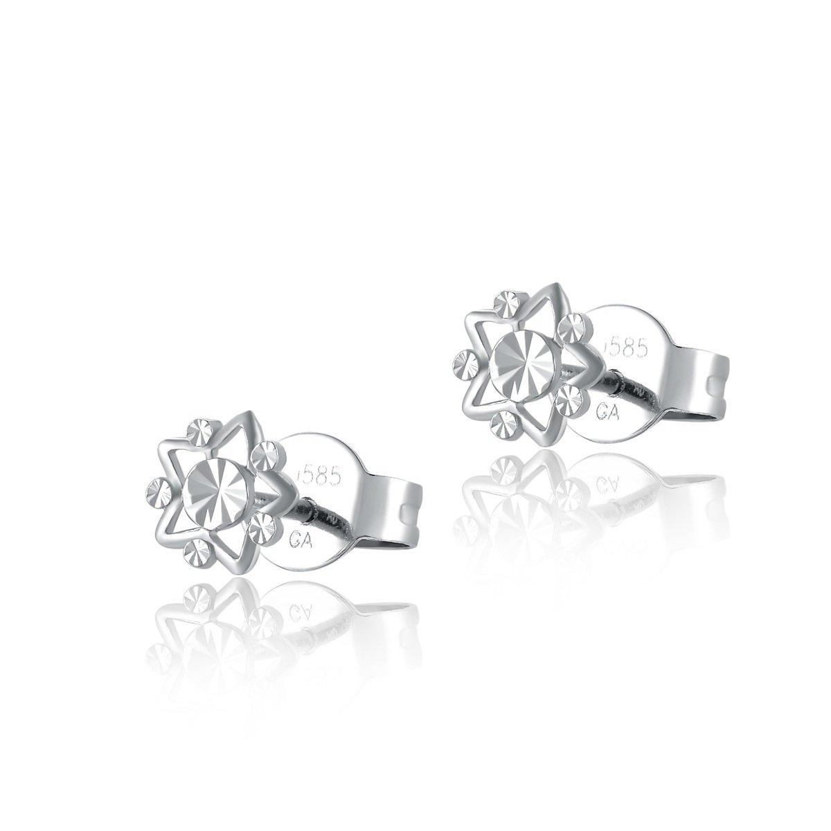 14K/585 白色黃金切花耳環