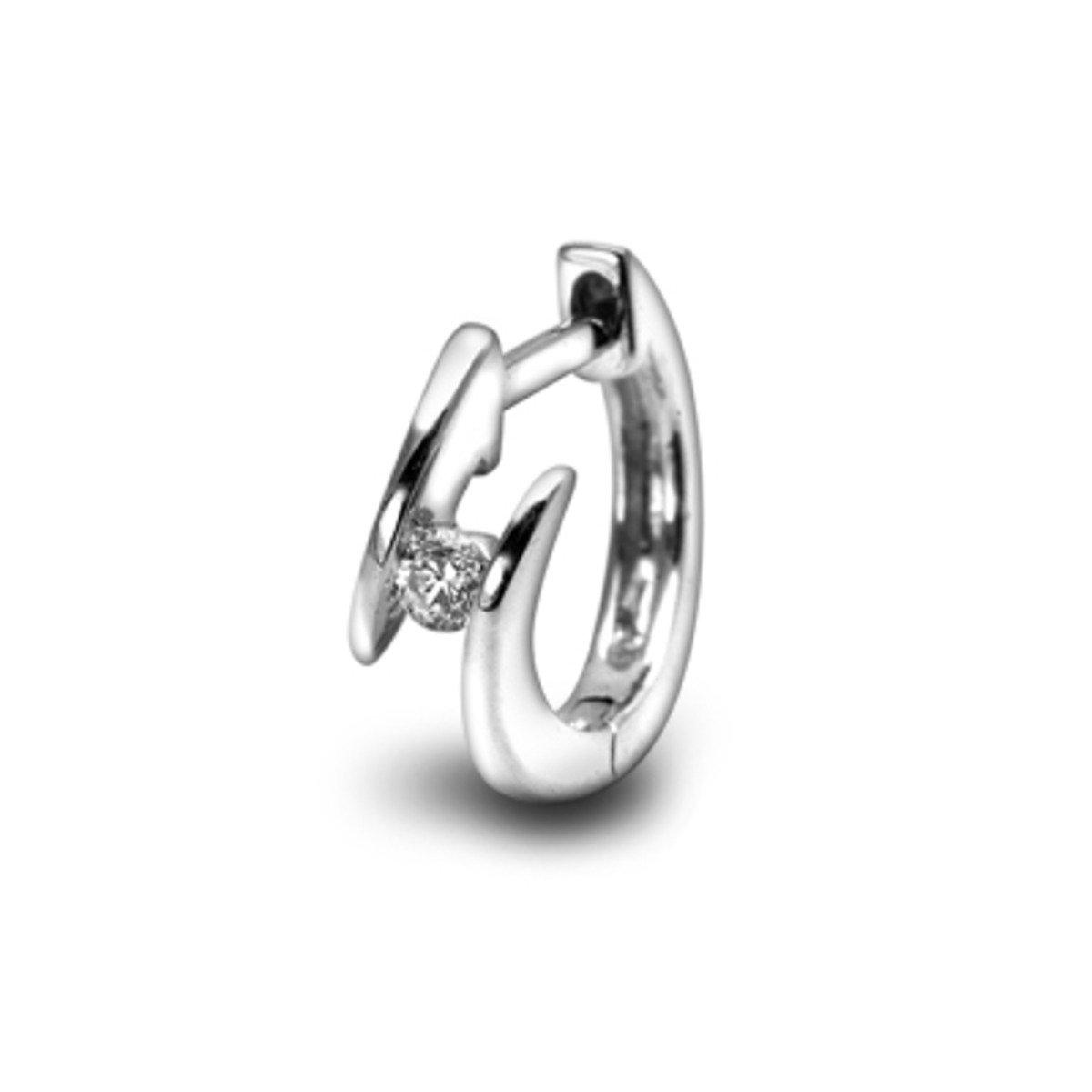 18K/750 白色黃金單顆鑽石耳環 (單隻)