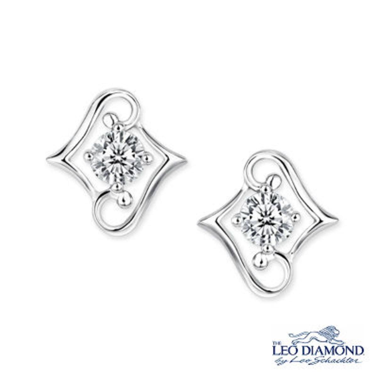 環抱愛鑽飾系列 - 18K/750白色黃金單顆鑽石耳環