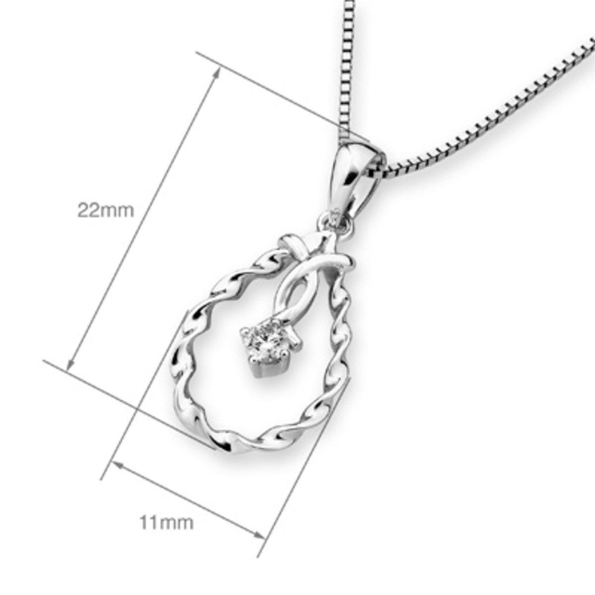18K/750 白色黃金鑽石水滴形吊墜 (此吊墜不包括項鍊)