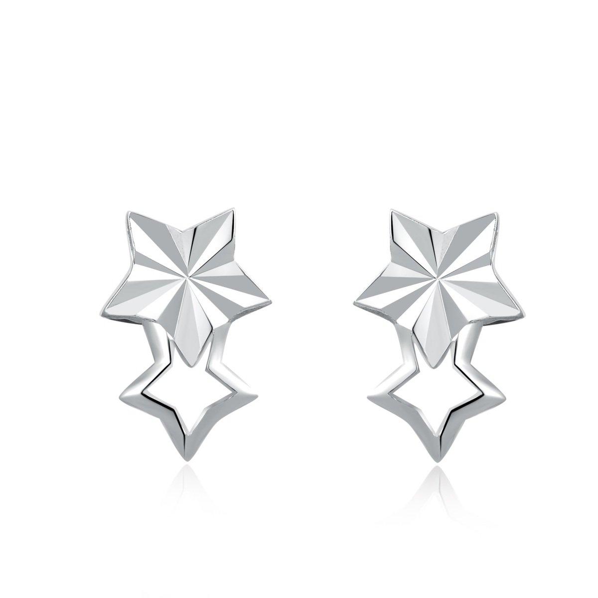 14K/585 白色黃金雙星耳環