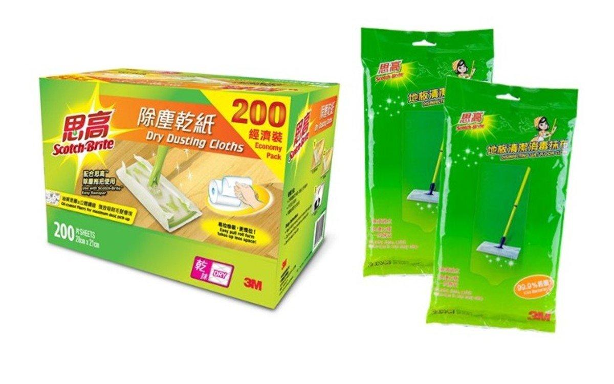 除塵乾紙(200 片卷裝)及地板清潔消毒抺布, (24 片裝 x2包)