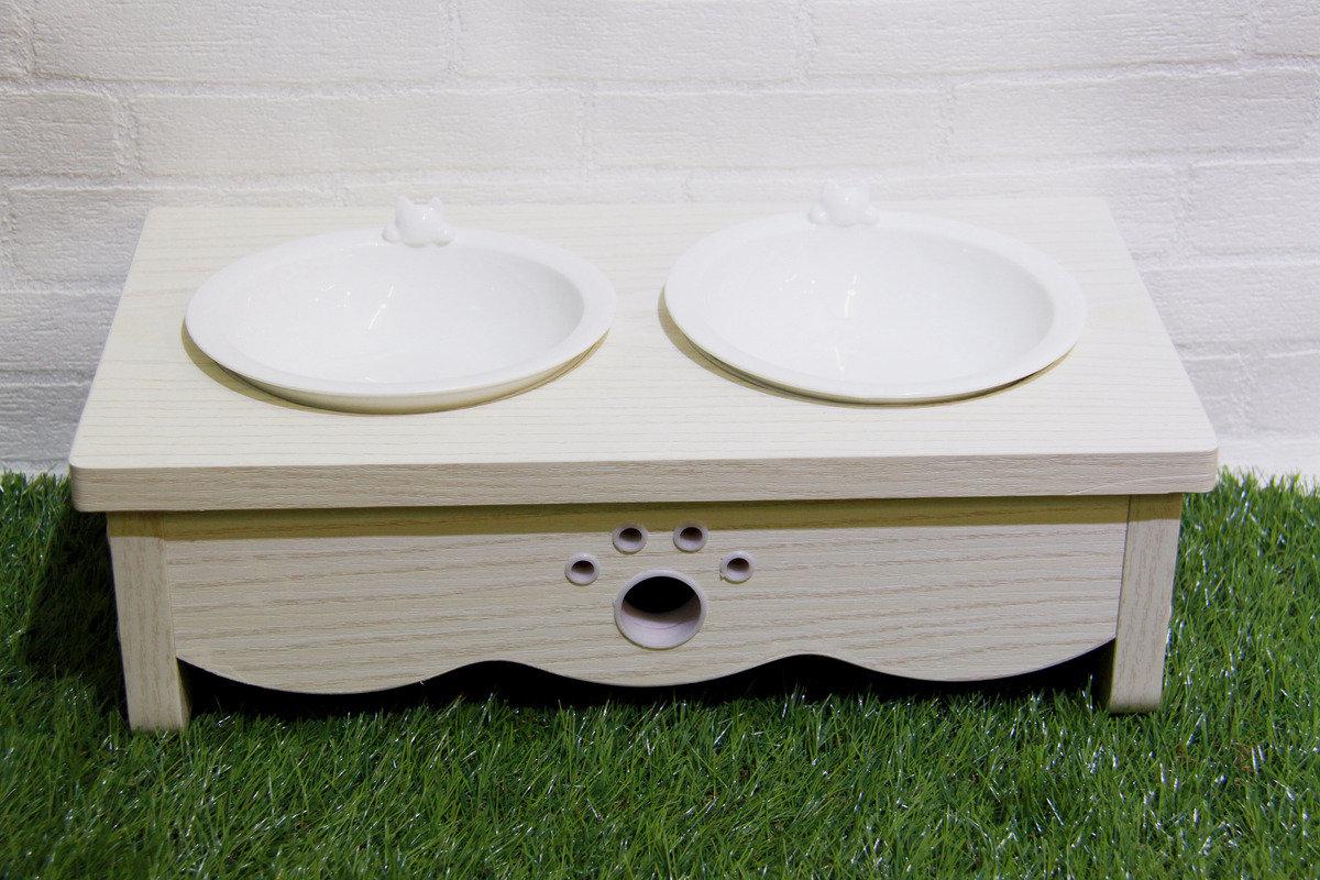 白木紋貓餐桌 (雙碗)