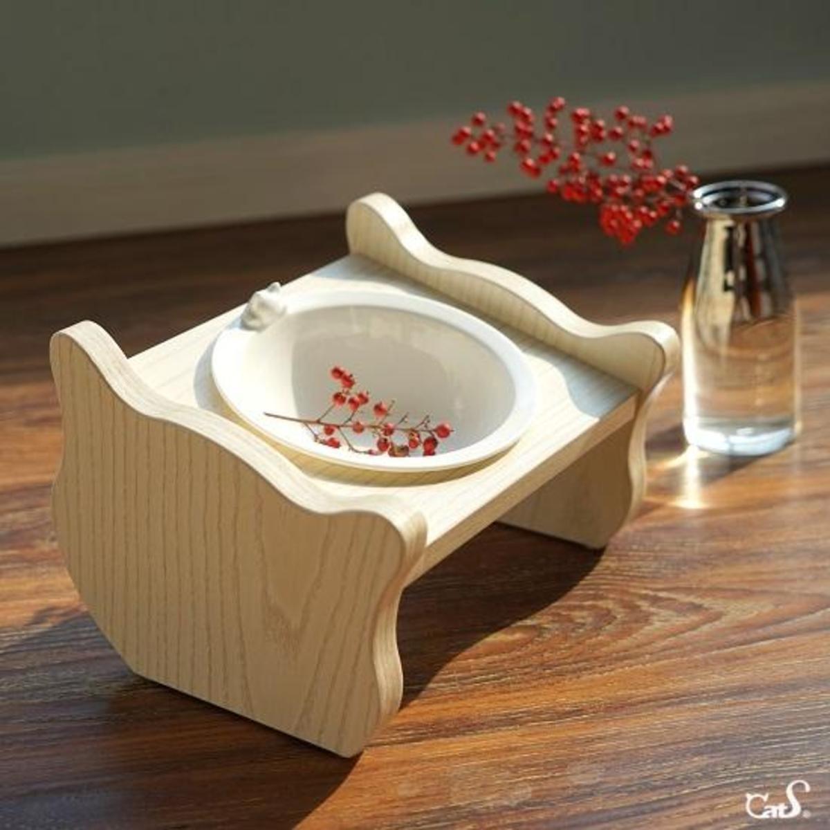 斜面木製單碗貓餐桌 (單碗)