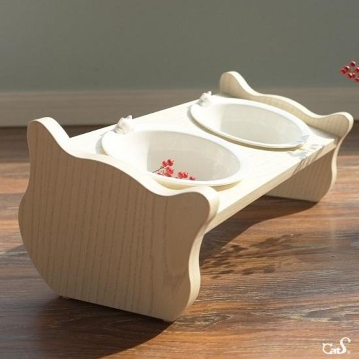 斜面木製雙碗貓餐桌 (雙碗)