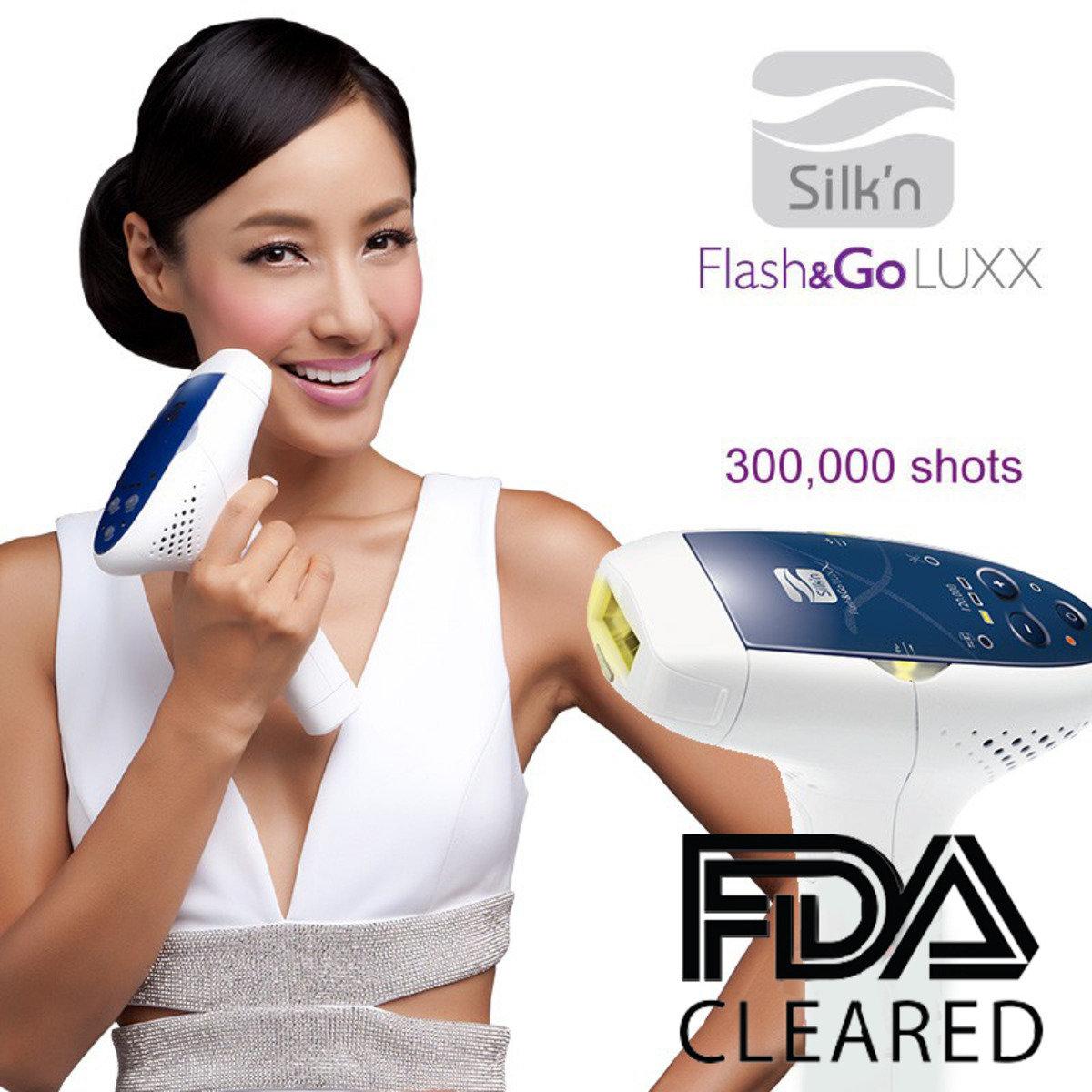 Silk'n Flash & Go Luxx 300K 宅光脫毛機(連一個300,000次燈盒) 加送價值$688 5k面部煥膚燈盒(health120)一個