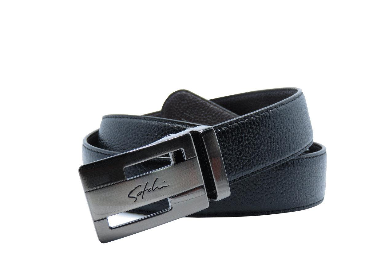 SATCHI 真皮板扣式皮帶 - 黑色