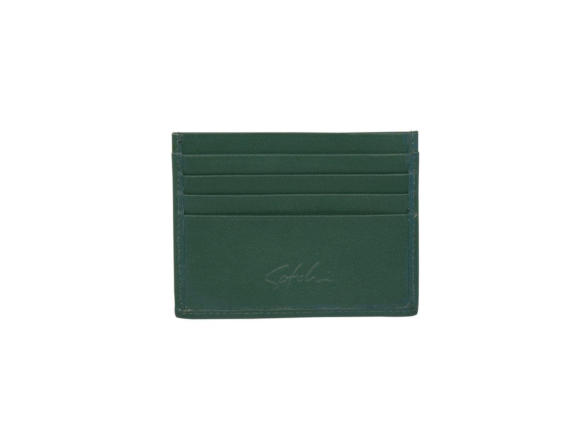 SATCHI 真皮咭片套 - 時尚自然紋 - 綠色