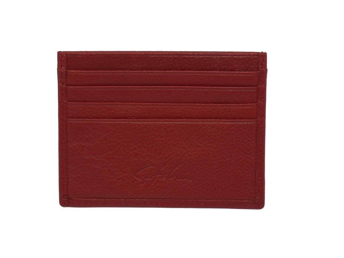 SATCHI 真皮咭片套 - 時尚荔枝紋 - 紅色