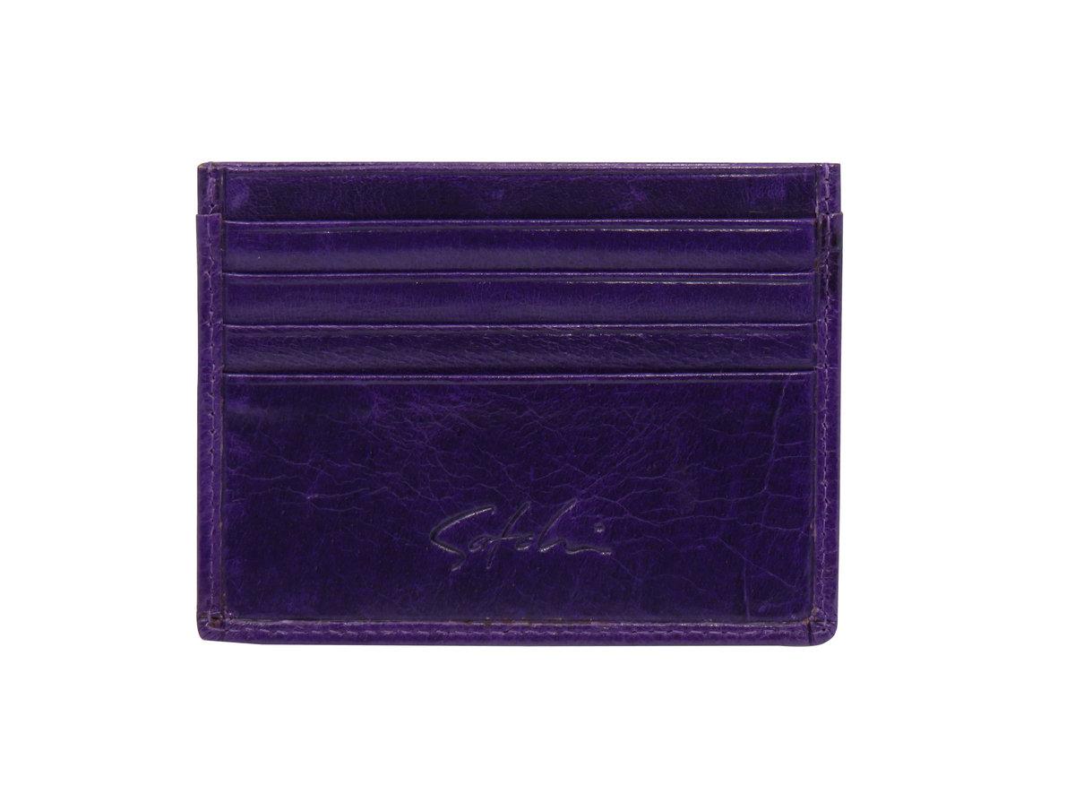 SATCHI 真皮咭片套 - 時尚光面牛皮紋 - 紫色